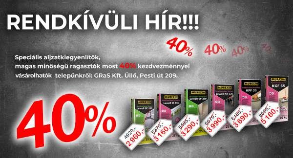 Murexin termékek most 40% kedvezménnyel